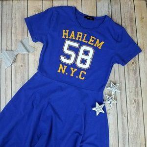F21 Harlem Fit & Flare Purple Skater Dress Size L